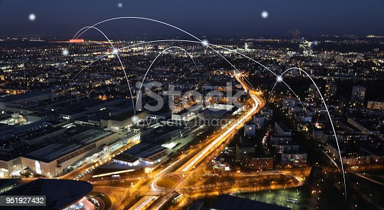 istock Computer network connection modern city future internet technology 951927432