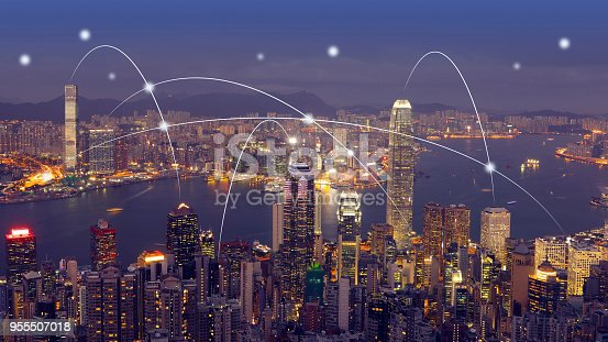 istock Computer network connection modern city future internet technology 955507018