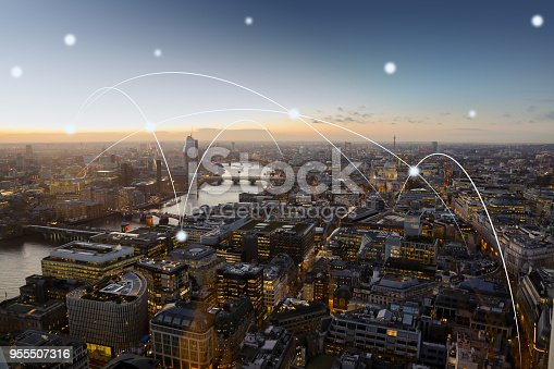istock Computer network connection modern city future internet technology 955507316