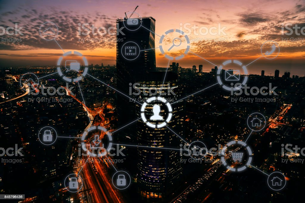 Computer network connection modern city future technology stock photo