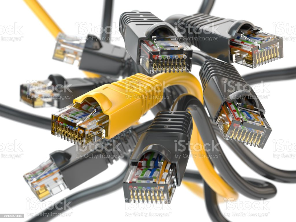 Computer Network LAN Cables Rj45 Imternet Connections Choice Concept Royalty Free Stock Photo