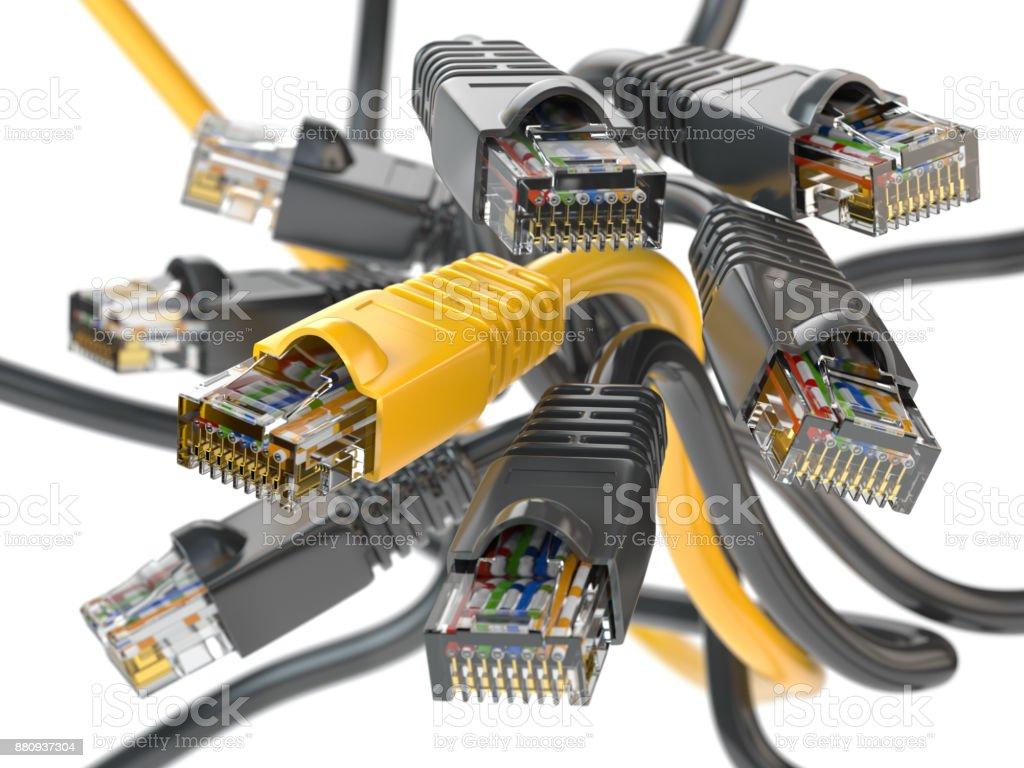 Computer network LAN cables rj45.  Imternet connections choice concept. stock photo