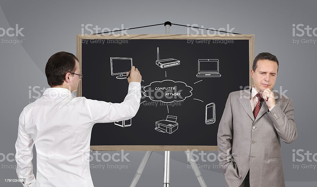 computer network on blackboard royalty-free stock photo