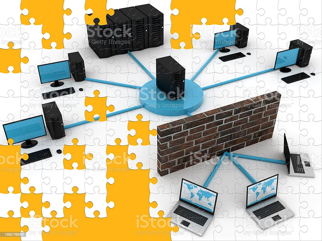 Computer network puzzle royalty-free stock photo