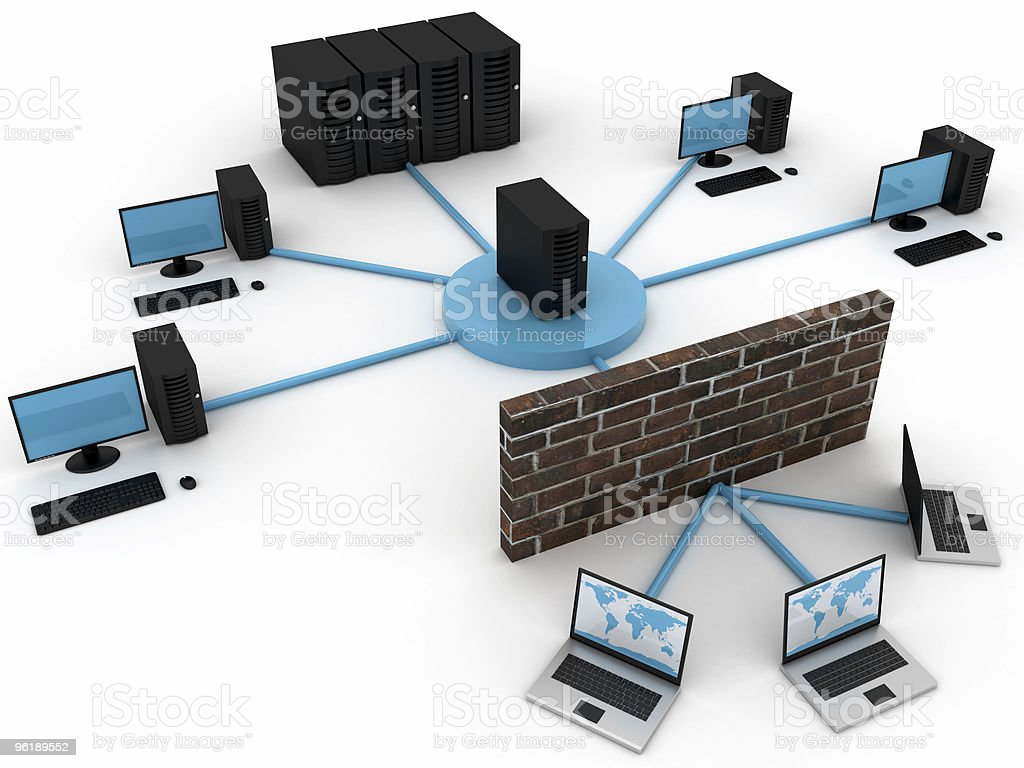 Computer network reaches several locations royalty-free stock photo