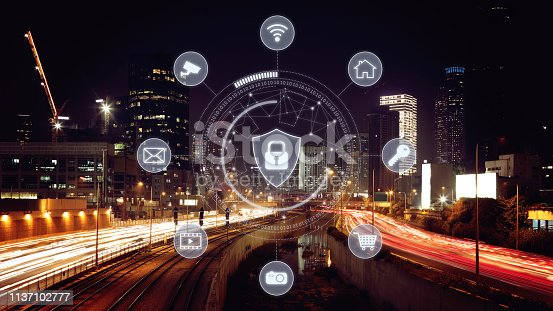 istock Computer network security cyber connection future technology information safety data protection encryption 1137102777