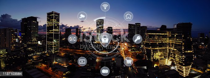 istock Computer network security cyber connection future technology information safety data protection encryption 1137103584