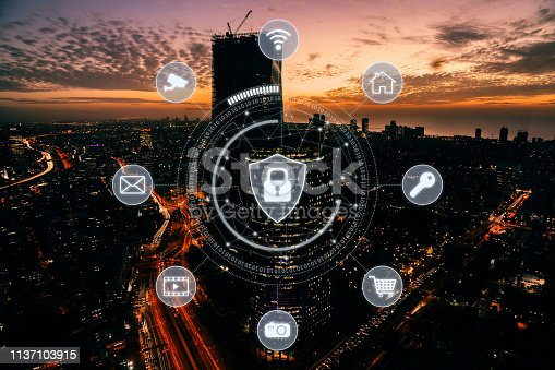 istock Computer network security cyber connection future technology information safety data protection encryption 1137103915