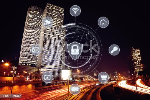 istock Computer network security cyber connection future technology information safety data protection encryption 1137105002