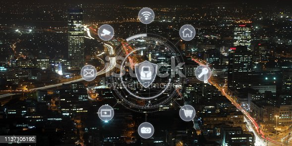 istock Computer network security cyber connection future technology information safety data protection encryption 1137105192