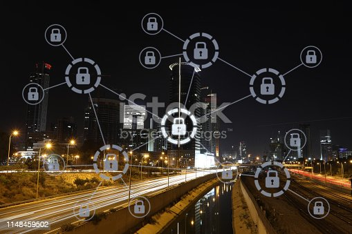 istock Computer network security cyber data protection lock shield 1148459502