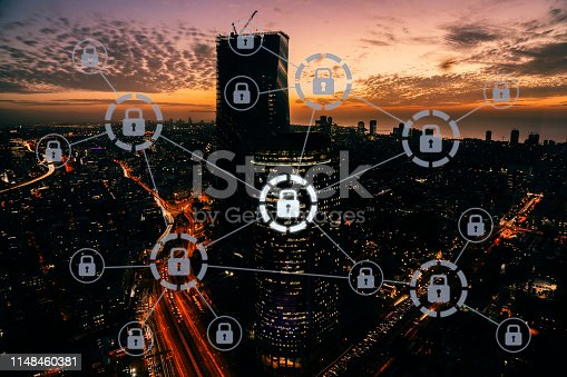 istock Computer network security cyber data protection lock shield 1148460381