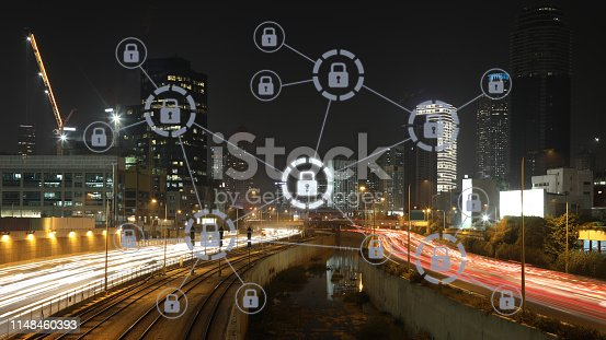 istock Computer network security cyber data protection lock shield 1148460393