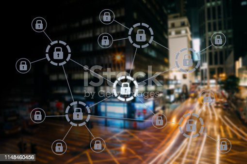 istock Computer network security cyber data protection lock shield 1148460456