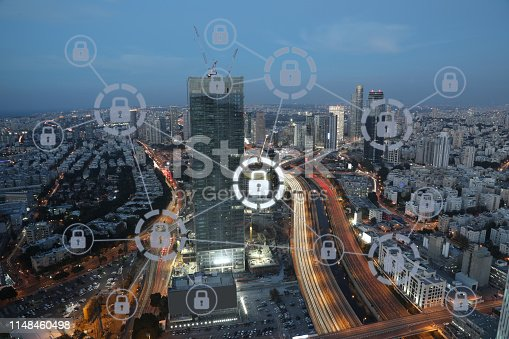 istock Computer network security cyber data protection lock shield 1148460498