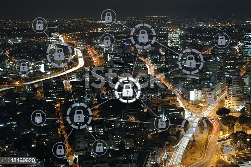 istock Computer network security cyber data protection lock shield 1148460620