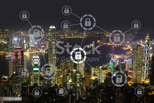 istock Computer network security cyber data protection lock shield 1203534929