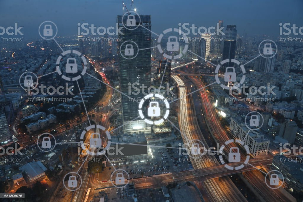Computer network security cyber future technology stock photo