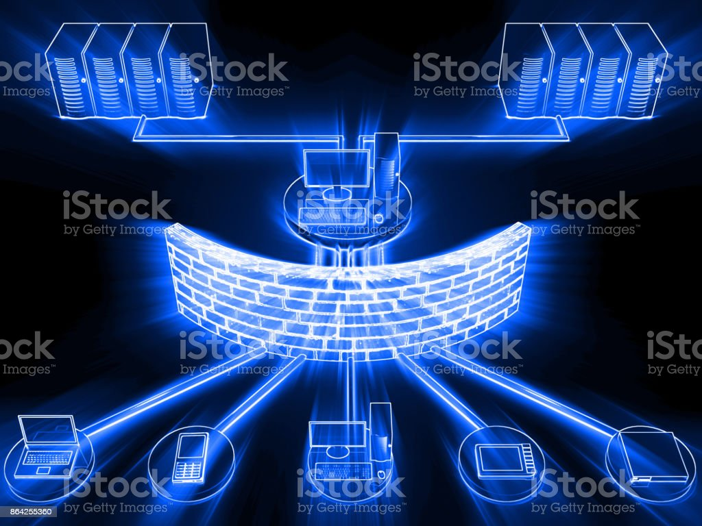 Computer network security firewall cyber data center royalty-free stock photo