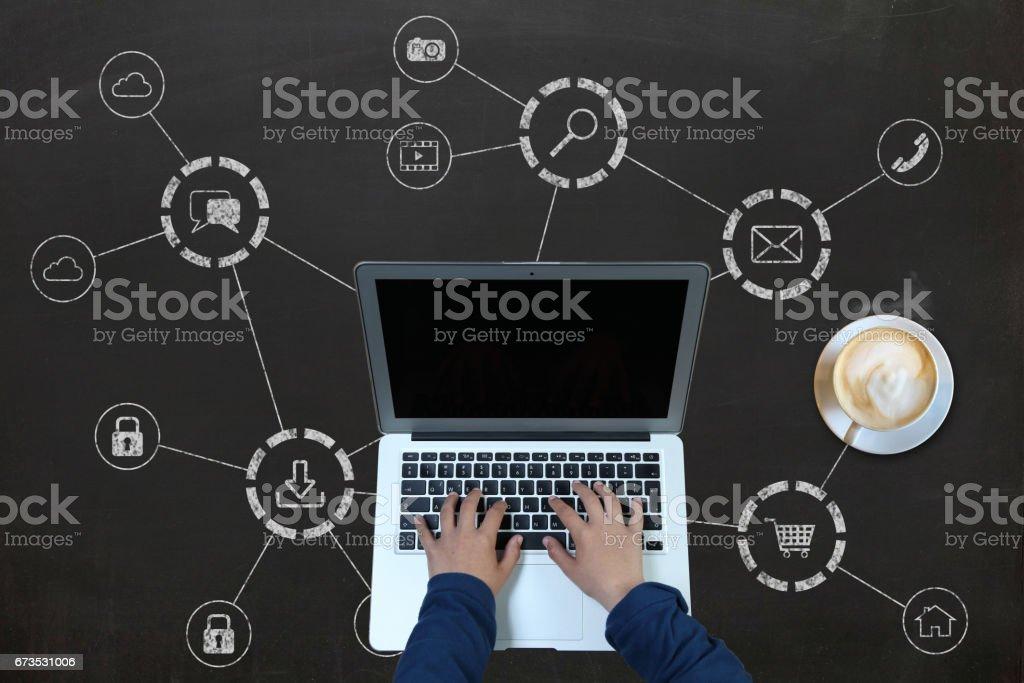 Computer network social media technology stock photo