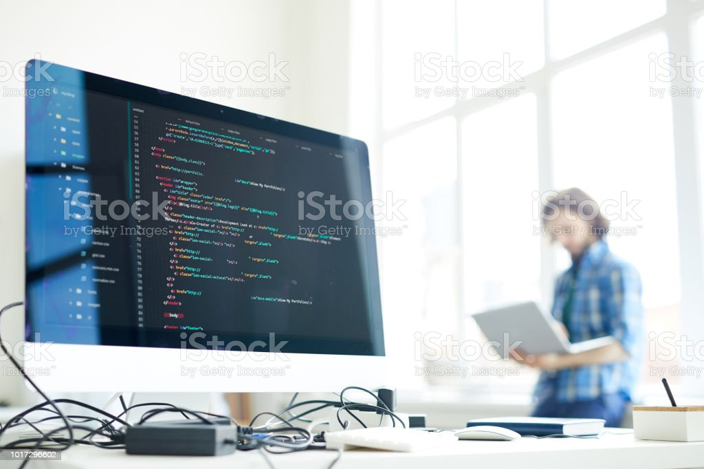 Computer of programmer - Royalty-free Adult Stock Photo