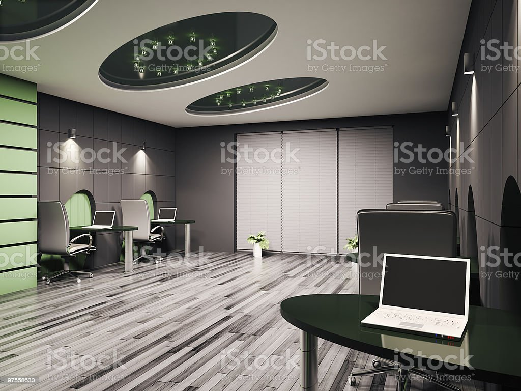 Computer office interior 3d royalty-free stock photo