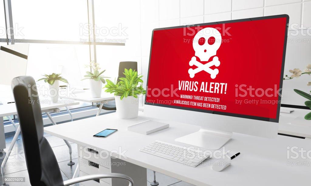 computer office virus stock photo