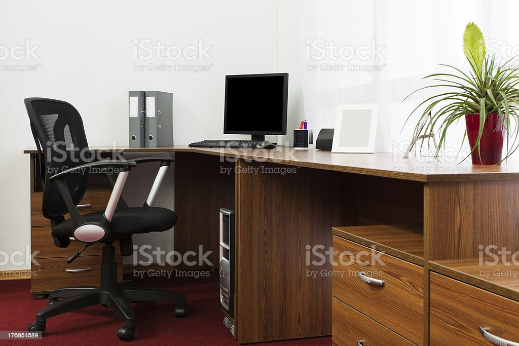 computer on a desk royalty-free stock photo
