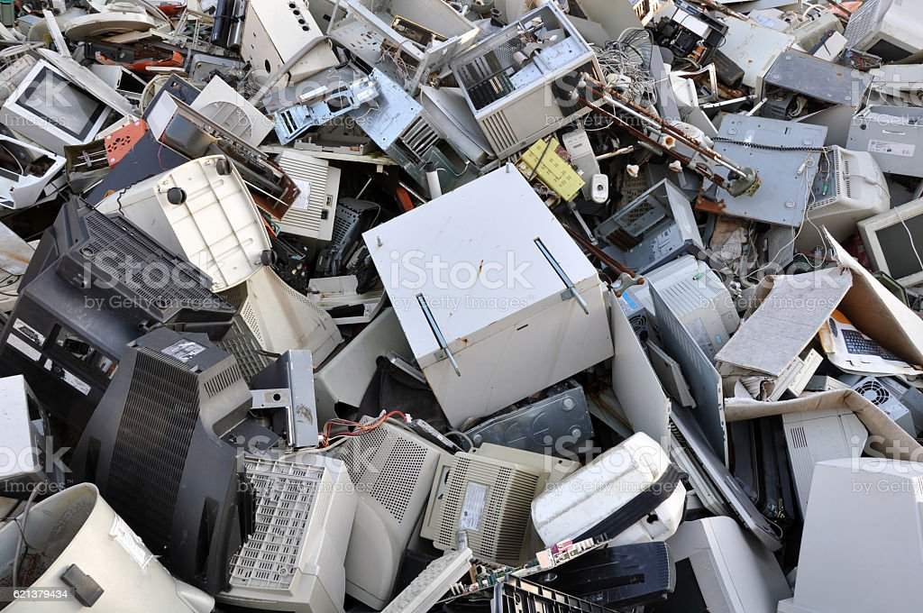 Computer parts for recycling stock photo