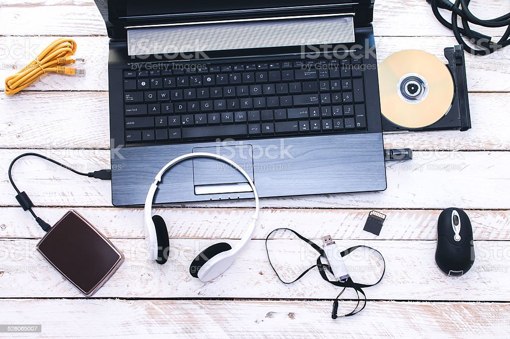Computer Peripherals & Laptop Accessories. Composition on white stock photo