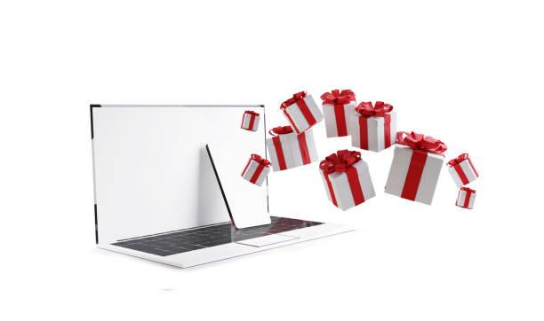 Computertelefon mit Weihnachtsgeschenken isoliert auf weißer 3D-Illustration – Foto