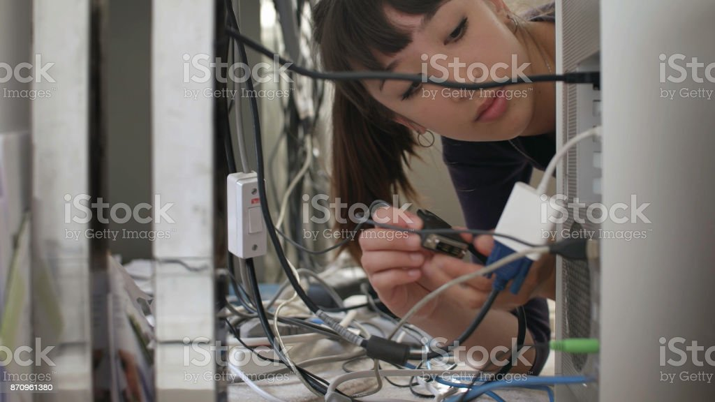 Computer plug in stock photo