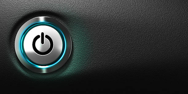 computer power button - button stock photos and pictures