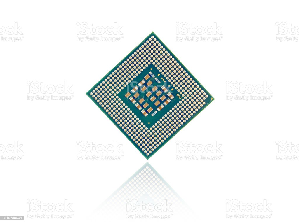 Computer Processor Chip Closeup stock photo