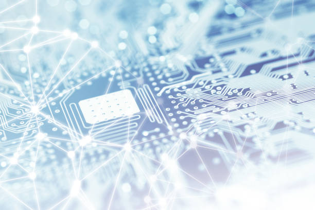 Computer Processor Chip on Motherboard Close-up of shiny computer processor chips on motherboard with network and blockchain patterns. circuit board stock pictures, royalty-free photos & images