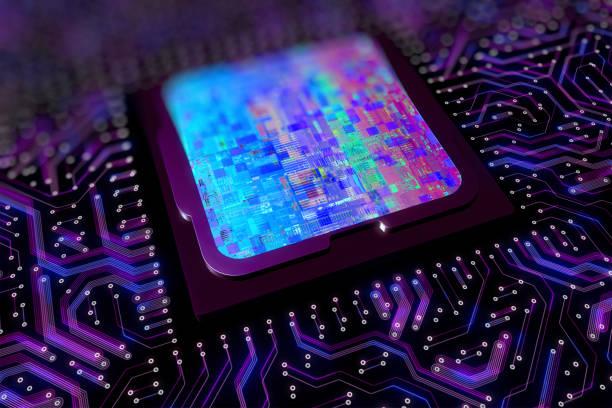 Computer processor circuit board with glitch stock photo