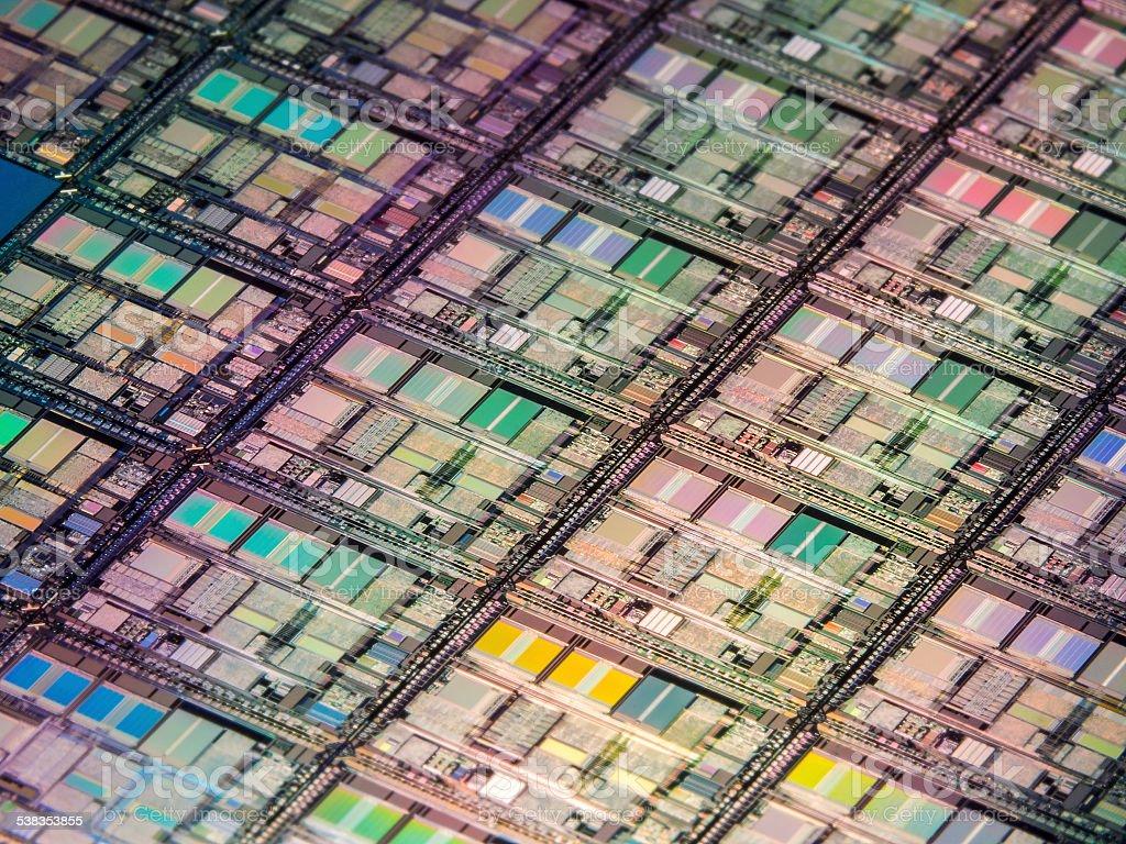 Computer Processor Wafer Macro stock photo