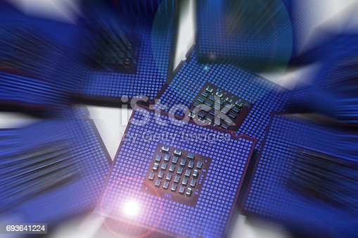 computer processors with abstract lighting effects postproduction, background.