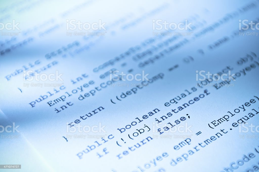 Computer programming code printed in paper royalty-free stock photo