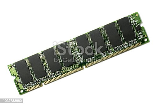 Computer RAM chip on isolated white background.