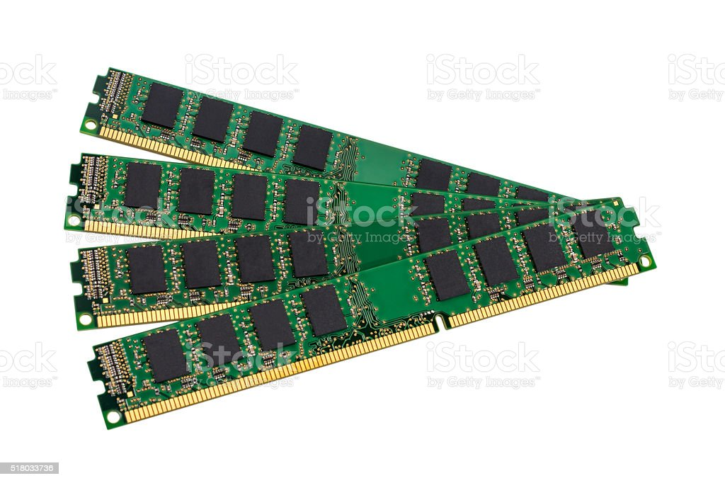 Computer random access memory (RAM) modules stock photo