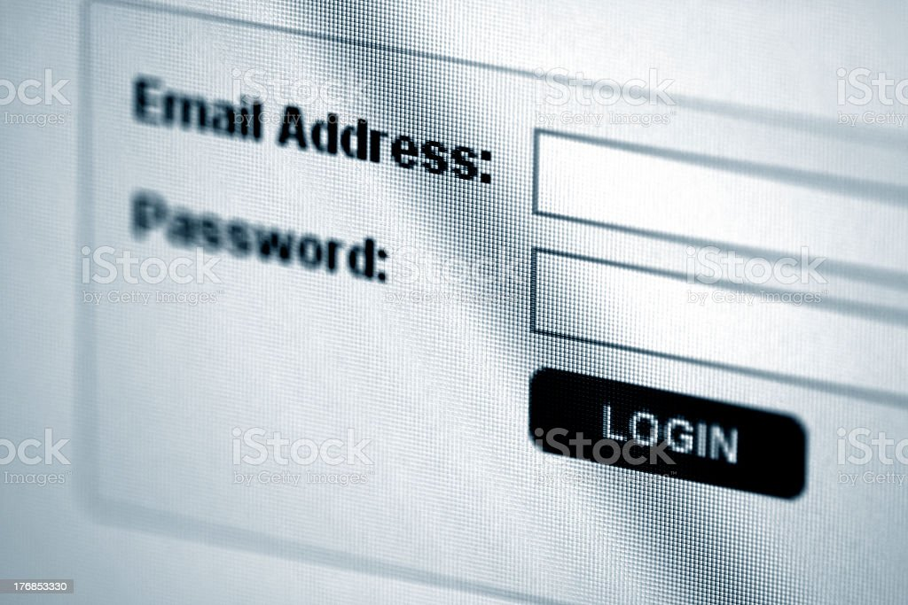 Computer screen asking for login information royalty-free stock photo