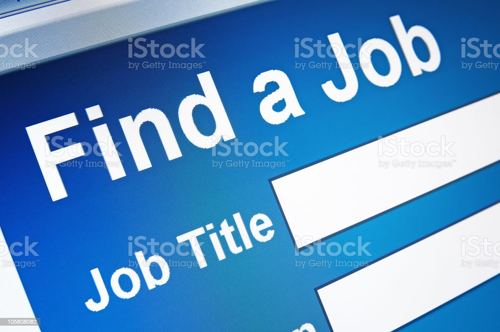 Computer screen image of a page saying Find a job  stock photo