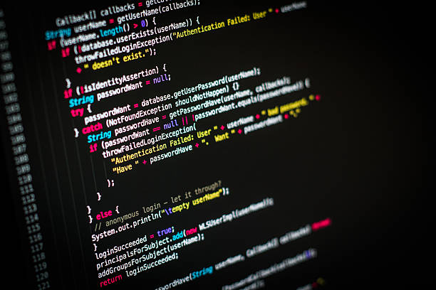 Computer screen with programming code stock photo