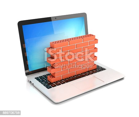 istock Computer security, firewall 3d concept, brick wall protecting laptop 889706758