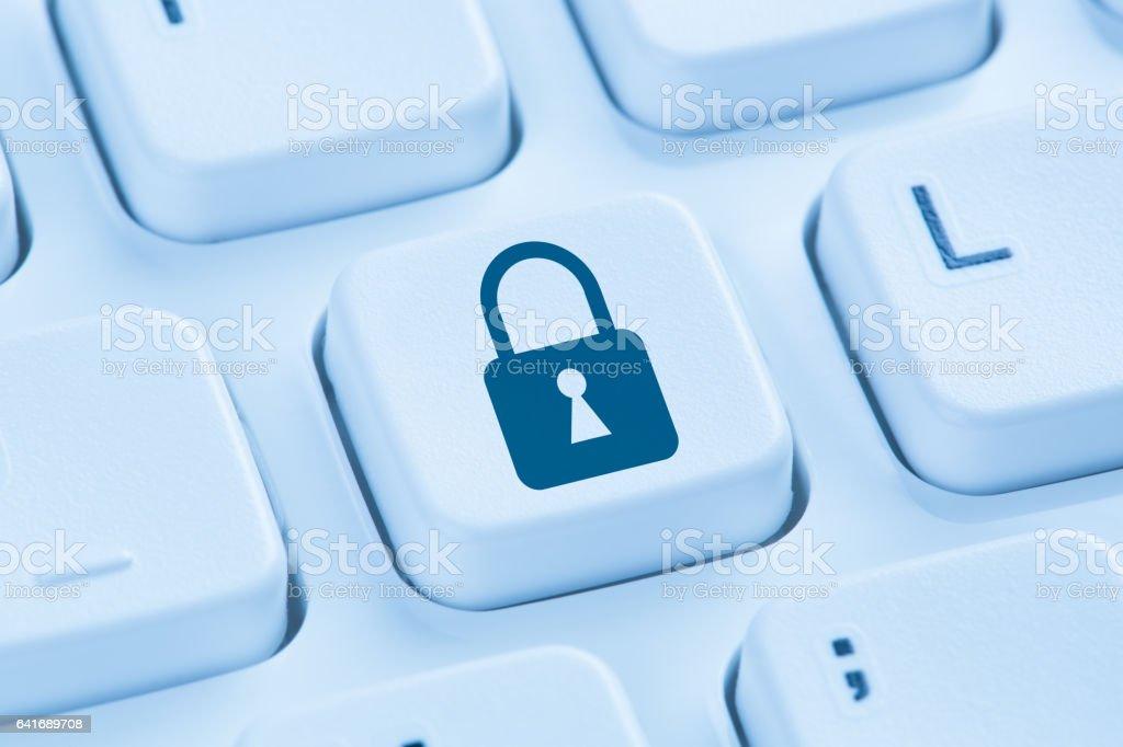 3aa5e7c4d Seguridad internet bloqueo icono datos protección azul teclado foto de  stock libre de derechos