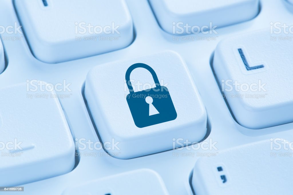 Computer security internet lock icon data protection blue keyboard stock photo