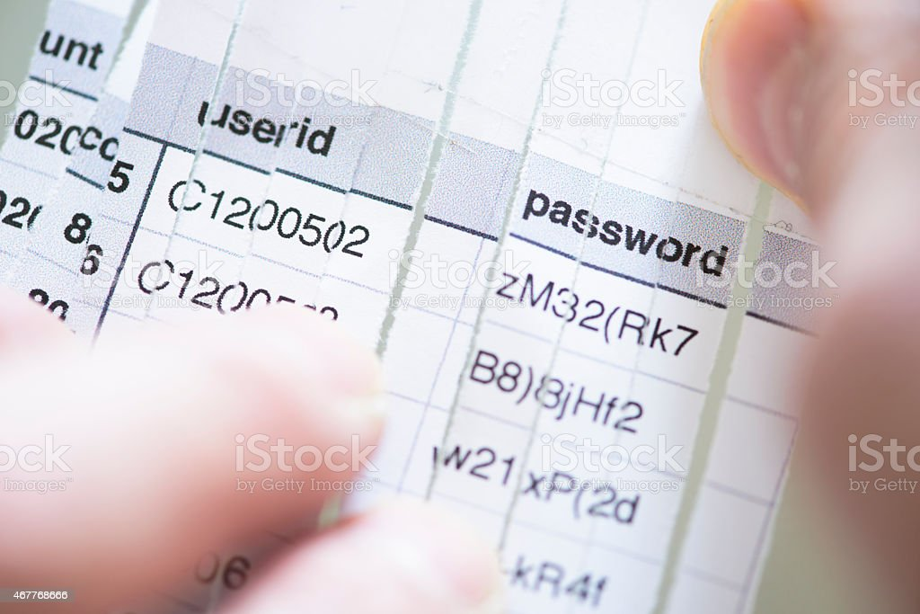 Computer Security: Reconstructing Shredded Document Listing Userids and Passwords stock photo
