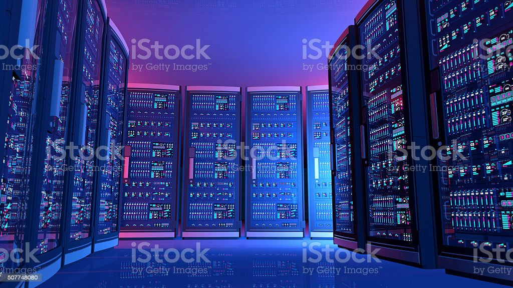 Computer servers panels with blue lights in futuristic data center stock photo