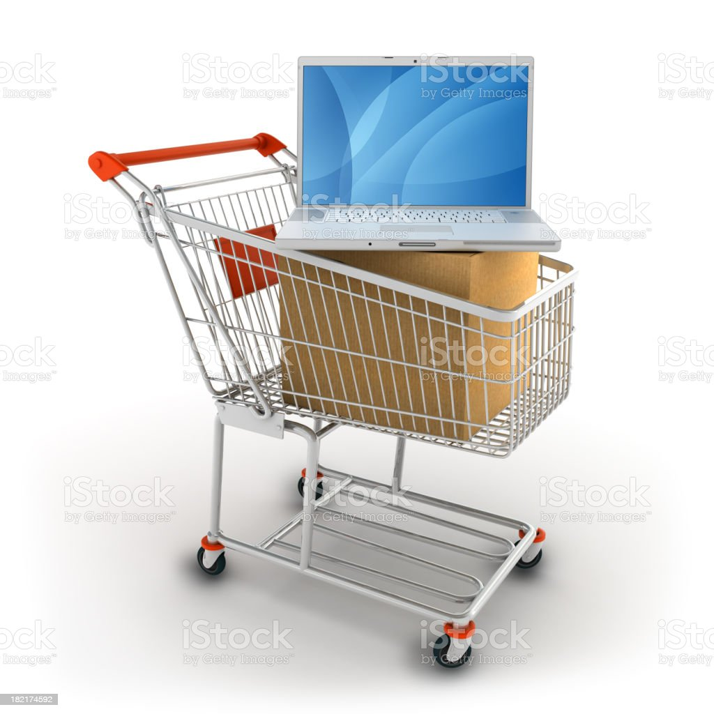 Computer shopping royalty-free stock photo